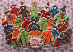 sock monkey christmas cookies (you should bake some today! Christmas Treats, Christmas Baking, Christmas Ornaments, Christmas Stuff, Monkey Cookies, Sock Monkey Party, Traditional Christmas Cookies, Colorful Cakes, 1st Birthday Parties