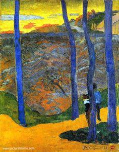 """peinture française : Paul Gauguin, 1888, """"les arbres bleus"""", bleu - jaune, paysage, 1880s"""