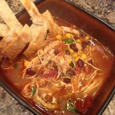 Slow Cooked Chicken Tortilla Soup   21 Day Fix Extreme Approved Recipe   www.fitmomangelad.com