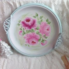 Large Serving/Vanity TRAY Hand Painted Pink Roses Sweet Shabby Chic ECS sct schteam svfteam