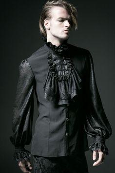 Goth Punk Rave shirt black shirt Men's Jabot baroque victorian WGT #PunkRave #LeisureShirts
