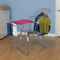 Household Essentials Adjustable Gullwing Style Clothes Drying Rack, Aluminum and Stainless - essentials deal for friends Laundry Rack, Laundry Storage, Best Dryer, Shoe Hanger, Hangers, Wall Mounted Drying Rack, Shoe Holders, Stainless Steel Rod, Clothes Drying Racks