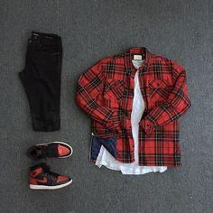 Camisa Xadrez. Macho Moda - Blog de Moda Masculina: CAMISA XADREZ MASCULINA: Como Usar e Onde Encontrar? Como usar Camisa Xadrez, Dicas para usar Camisa Xadrez, Camisa Xadrez |vermelha, Nike Air Jordan 1 Stylish Mens Outfits, Dope Outfits, Swag Outfits, Casual Outfits, Men Casual, Fashion Outfits, Fashion Hats, Hype Clothing, Mens Clothing Styles