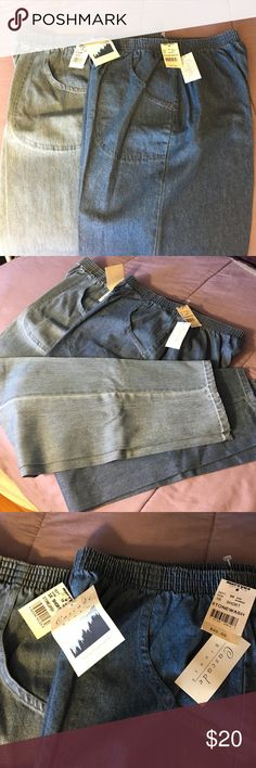 Two pair of Cascade  Blues jeans 16 short Two pair of brand-new jeans size 16 short. Pockets on the front and the elastic waist is in great condition. Brand-new with tags never worn. Inseam is 28 1/2 inches. These two jeans are different colors unlike the other listing I have that are two identical darker pairs. Cascade Blues Jeans