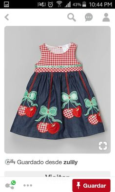 the Silly Sissy Denim & Red Cherry Babydoll Dress - Toddler & Girls Little Girl Dresses, Girls Dresses, Toddler Girl Dresses, Toddler Girls, Girl Doll Clothes, Baby Sewing, Kids Wear, Baby Dress, Kids Outfits