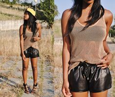 New Look Fishnet Top, River Island Sports Shorts, Primark Shoes