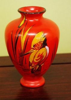 Shelley vase, with kingfisher decoration