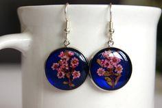 Pressed Flowers Resin Earrings Australian by oceanpetalsartstudio