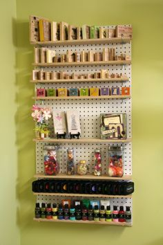 Stamp shelf peg board - nicest peg board i've seen. add a framed border and it would be perfect. Yarn Storage, Craft Storage, Paper Storage, Peg Board Shelves, Peg Boards, Space Crafts, Home Crafts, Craft Shed, Pegboard Organization