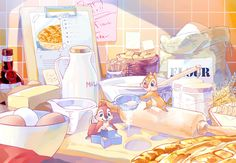 patisserie Chip and Dale by Umintsu on DeviantArt Old Cartoons, Disney Cartoons, Disney Movies, Disney And Dreamworks, Disney Pixar, Walt Disney, Disney Drawings, Cute Drawings, Chip Y Dale