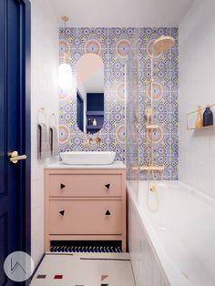 Marokkanischen Fliesen. Wohnideen.  #lifestyle #wandfliesen #marokkanische #marokkanischefliesen #fliesen #innenarchitektur #moroccantiles #marocchine #piastrelle #zellige #fliesen #dekorfliesen #wandfliesen #wohninspiration #Wohnideen  #homedecor #homedesign #wohntrends #inneneinruchtung #badezimmer #badfliesen #buntefliesen #ausgefallen #kacheln Home Design, Flat Interior, Interior Ideas, Corner Bathtub, Master Bath, Bathroom Lighting, Toilet, Mirror, Dom