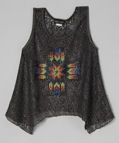 Look at this #zulilyfind! Charcoal Tribal Cross Lace Sidetail Tank by Lori & Jane #zulilyfinds 24.00