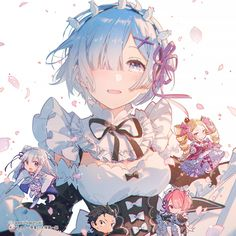 Re:Zero - Starting Life in Another World, Rem (Re:Zero), Ram (Re:Zero) / レム - pixiv Anime Girl Cute, Anime Art Girl, Anime Comics, Anime Style, Kawaii Anime, Anime Illustration, Illustrations, Mermaid Melody, Japanese Anime Series