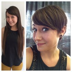 haircut on long hair brunette to a pixie hair cut anne hathaway style