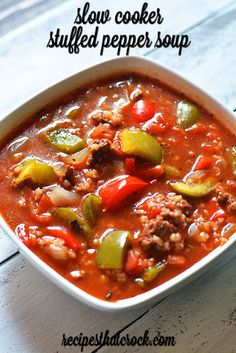 Slow Cooker Stuffed Pepper Soup With Extra Lean Ground Beef, Onions, Red Gold® Diced Tomatoes, Green Pepper, Tomato Sauce, Beef Broth, Dried Basil, Dried Oregano, Cooked Rice