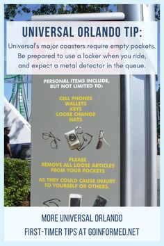 Unlike Disney, Universal requires guests to use lockers when riding major coasters. Be ready with these Universal Orlando tips from GoInformed.net Used Lockers, Orlando Theme Parks, Universal Orlando, Islands, Coasters, Adventure, Disney, Tips, Coaster