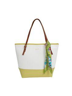 Žluto bílá  kabelka DOCA do ruky s šátkem