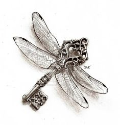 dessin-tatouage-clé-ancienne-libellule