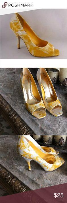 Bcbgirl yellow tone heels Super cute peep toe yellow and cream  tone 3 1/2 inch heel BCBGirls Shoes Heels