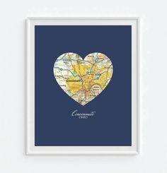 Cincinnati Ohio Heart Map - Custom Colors - Couples - Wedding - Engagement -Anniversary -Christmas- Family gift UNFRAMED ART PRINT