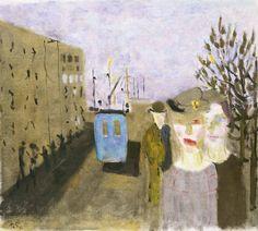Den blå bussen, Ragnar Sandberg, 1938. Konstmuseet - Samlingar - Göteborgskolorism - Samlingar - Göteborgs konstmuseum