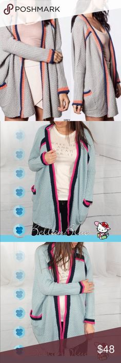 💠💠The ADRIANNA cardigan - BLUE 🎉HP 1/31🎉Super fun cardigan with black & magenta lining. Great slouchy look. Med thick. ONLY BLUE AVAILABLE. PICS 2-4 are of actual item. ‼️NO TRADE‼️ OVERSIZED FIT Bellanblue Sweaters Cardigans