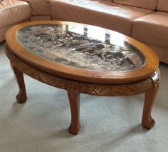 Amazing Hand Carved Chinese Coffee Table With Glass Top ,great Condition  A+++