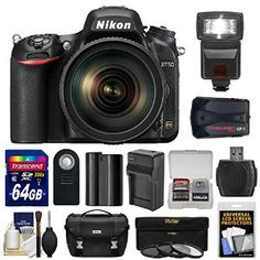 Nikon D750 Digital SLR Camera & 24-120mm f/4 VR Lens with 64GB Card + Battery & Charger + Case + GPS Adapter + Filters + Flash + Kit  Price: $2,749.95