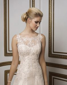 Style 8831: Lace, Mikado A-line adorned by a Sabrina neckline | Justin Alexander