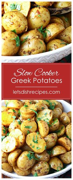 Slow Cooker Greek Potatoes Recipe -- Baby Yukon Gold potatoes are seasoned with garlic, lemon juice and Greek seasoning, then slow cooked until tender. Garnish with fresh parsley and lemon zest for the perfect side to any meal. #potatoes #slowcooker #recipes Potato Dishes, Potato Recipes, Food Dishes, Soup Recipes, Side Dishes, Easy Holiday Recipes, Easy Dinner Recipes, Dinner Ideas, Slow Cooker Recipes