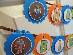 Transformer Rescue Bots Happy Birthday Banner by Lilmisscupcake2