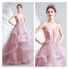 Straps V Neck Evening Gowns High Low Formal Dresses from Formaldressau Formal Dresses Online, Pink Formal Dresses, Formal Gowns, Pink Evening Gowns, Dresses Online Australia, Blush Pink, High Low, Ball Gowns, Party Dress