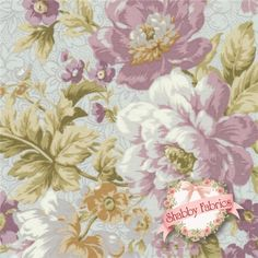 "Pristine 3 12691-183 Pewter by Robert Kaufman: This pretty floral fabric is from the Pristine 3 collection by Robert Kaufman. 43""/44"" wide, 100% cotton, printed in South Korea. The fabric features a large purple floral print on a light blue background."