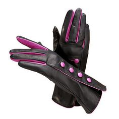 Ladies Button Gloves in Black with Fuchsia - Aspinal of London - Luxury English Lifestyle
