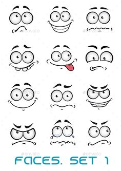 Cartoon faces with different emotions ashappiness, joyful, comics, surprise, sad and fun FLAT SPORTS MASCOTS MEDICINE