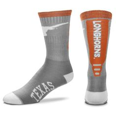 1e249b2055f86 Texas Longhorns For Bare Feet Cool Gray Jump Key Crew Socks