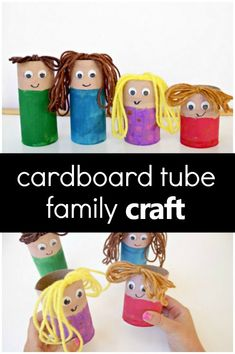 Create this cardboard tube family craft to encourage pretend play, vocabulary development, and more during your preschool family theme activities. #preschool #recycledcraft #familytheme