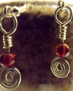 Wire-Wrapped-Garnet-Earrings-on-Silver-Coated-Wire-Real-Stone-Hand-Wrapped