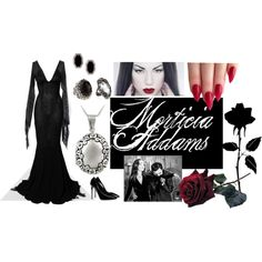 Morticia Addams by marilyn-crisp on Polyvore featuring Solace, Giuseppe Zanotti, Mondevio, Konstantino, Judith Ripka and Alexis Bittar
