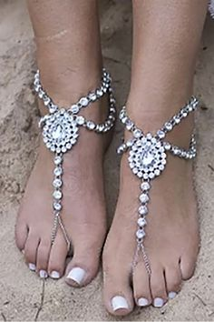 Ideal for a tropical wedding on the beach. Or on soft grass. Would feel so good in barefoot sandals. These crystal rhinestones ones would go good with the flowy wedding dress. In the My Online Wedding Help products section. Sparkly Wedding Shoes, Bling Wedding, Wedding Dress, Diy Barefoot Sandals, Bare Foot Sandals, Different Wedding Ideas, Going Barefoot, Alternative Wedding, Jewelry Patterns