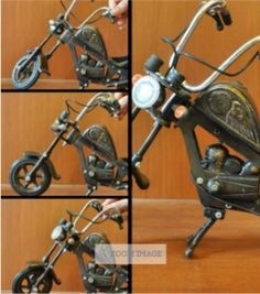 Classic Harley Davidson miniature in copper and silver. See full details http://ahpshare.me/9WMBB