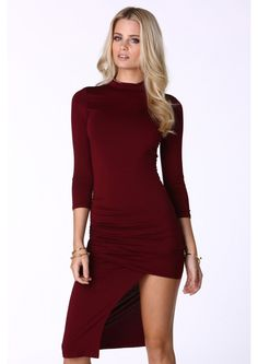 Silvia Mission Mock Neck Maxi Dress in Burgundy | Necessary Clothing