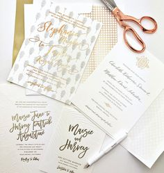 """102 Likes, 1 Comments - Shindig Paperie (@shindigpaperie) on Instagram: """"Weekend invitation inspiration in gray, white & rose gold. Letterpress & digitally printed by…"""""""