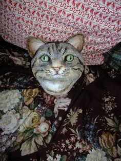 Papier Mache cat head