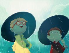 illustration rain child umbrella - by Carine Hinder - Auzou éditions - les enquêtes d'Anatole Bristol 2