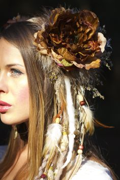 www.etsy.com/shop/lotuscircle lotuscircle, headdress, headdresses, wig, headpiece, dreads, faery, faerie, woodland, forest dweller, goddess, gypsy, fantasy, tribal, design, handmade, fairyhair, makeup, fashion, design, burningman, earthy, boho, flower headdress, leather and feather