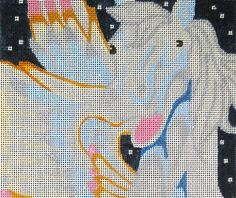 """Needlepoint canvas of Pegasus the winged flying horse. design: 8""""w x 14""""h  14 mesh  $20.00"""