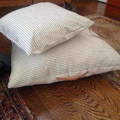 a couple of pillows just hanging out…pin and stripe