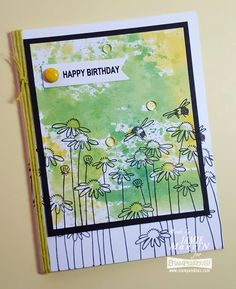 Stamp This!: Happy Birthday watercolor card using #Stampendous stamps and #WhiskerGraphics twine. #cre8time