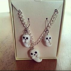 Ghost necklace & earring matching set by FlowerChildCharms on Etsy, $12.25 Place Ur Custom Order No extras costs. None!
